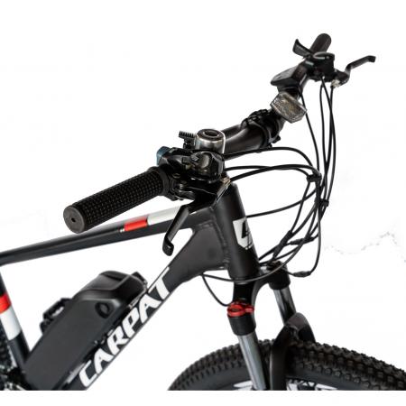 """Bicicleta electrica MTB (E-BIKE) CARPAT 27.5"""" C1011E, cadru aluminiu, frane mecanice disc, transmisie SHIMANO 21 viteze, culoare negru/alb [4]"""