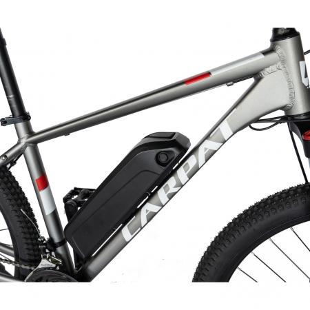 """Bicicleta electrica MTB (E-BIKE) Carpat 29"""" C1012E, cadru aluminiu, frane mecanice disc, transmisie SHIMANO 21 viteze, culoare gri/alb [4]"""