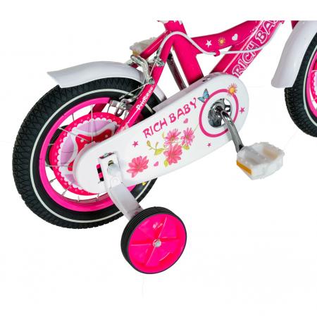 "Bicicleta fete Rich Baby T1201C, roata 12"", C-Brake, roti ajutatoare, 2-4 ani, fucsia/alb [3]"