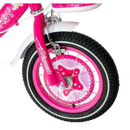 "Bicicleta fete Rich Baby T1201C, roata 12"", C-Brake, roti ajutatoare, 2-4 ani, fucsia/alb [4]"