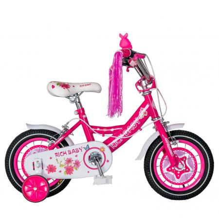 "Bicicleta fete Rich Baby T1201C, roata 12"", C-Brake, roti ajutatoare, 2-4 ani, fucsia/alb [0]"