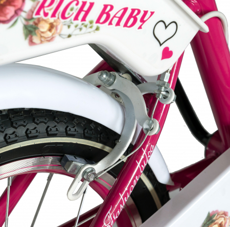 "Bicicleta fete Rich Baby T1205C, roata 12"", C-Brake,  roti ajutatoare, 2-4 ani, fucsia/alb [2]"