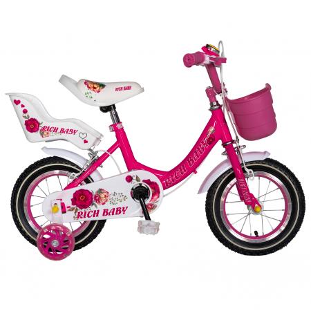 "Bicicleta fete Rich Baby T1205C, roata 12"", C-Brake,  roti ajutatoare, 2-4 ani, fucsia/alb [0]"
