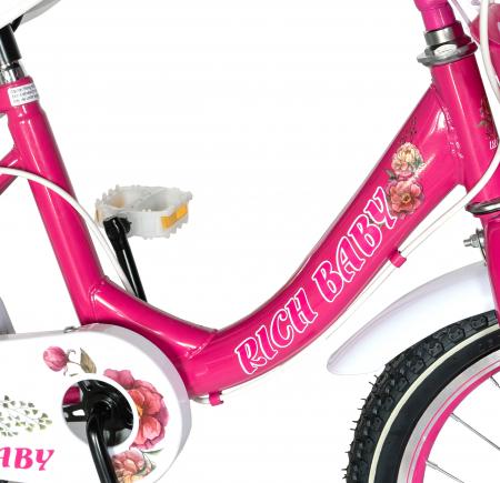 "Bicicleta fete Rich Baby T1205C, roata 12"", C-Brake,  roti ajutatoare, 2-4 ani, fucsia/alb [3]"