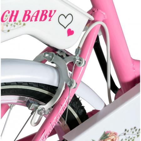 "Bicicleta fete Rich Baby T1205C, roata 12"", C-Brake,  roti ajutatoare, 2-4 ani, roz/alb [1]"