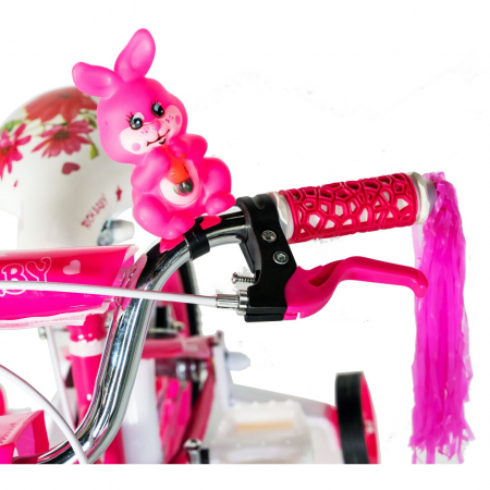 "Bicicleta fete Rich Baby T1601C, roata 16"", C-Brake, roti ajutatoare, 4-6 ani, fucsia/alb [4]"