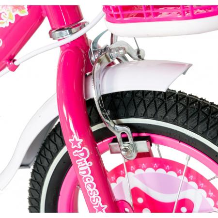 "Bicicleta fete Rich Baby T1601C, roata 16"", C-Brake, roti ajutatoare, 4-6 ani, fucsia/alb [3]"