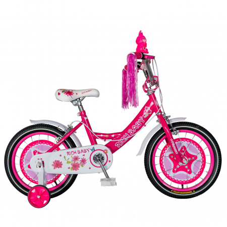 "Bicicleta fete Rich Baby T1601C, roata 16"", C-Brake, roti ajutatoare, 4-6 ani, fucsia/alb [0]"