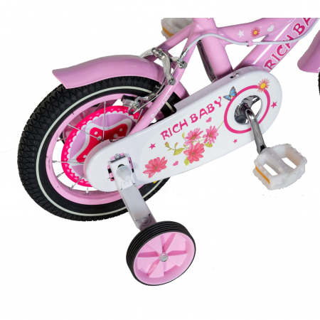 "Bicicleta fete Rich Baby T1601C, roata 16"", C-Brake, roti ajutatoare, 4-6 ani, roz/alb [2]"