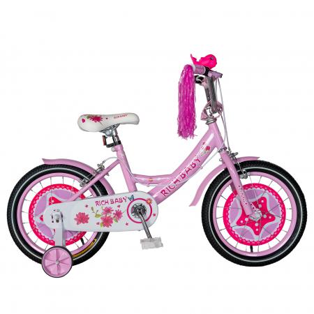 "Bicicleta fete Rich Baby T1601C, roata 16"", C-Brake, roti ajutatoare, 4-6 ani, roz/alb [0]"