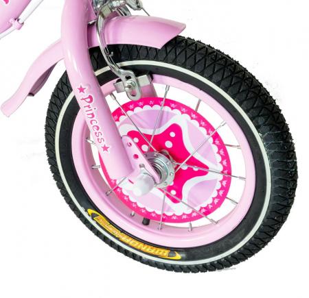"Bicicleta fete Rich Baby T1601C, roata 16"", C-Brake, roti ajutatoare, 4-6 ani, roz/alb [3]"