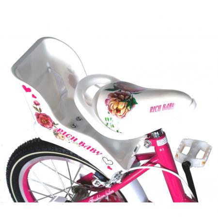 "Bicicleta fete Rich Baby T1605C, roata 16"", C-Brake,  roti ajutatoare, 4-6 ani, fucsia/alb [4]"