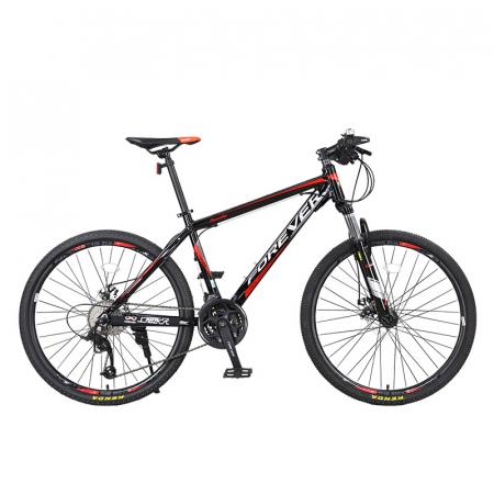 """Bicicleta MTB-HT Forever F24T1B, roata 24"""", cadru aluminiu, 27 viteze, culoare negru/rosu [0]"""