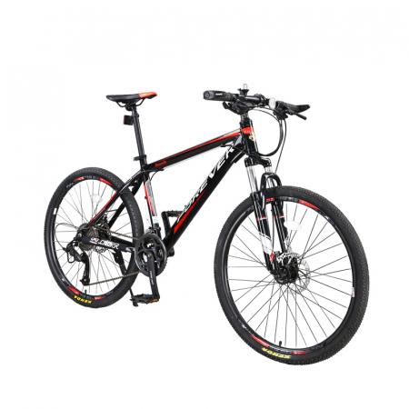 """Bicicleta MTB-HT Forever F24T1B, roata 24"""", cadru aluminiu, 27 viteze, culoare negru/rosu [1]"""