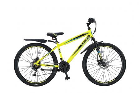 """Bicicleta MTB Umit Faster - 2 D - V-21 , Culoare negru/lime , Roata 26"""", Cadru Otel [0]"""