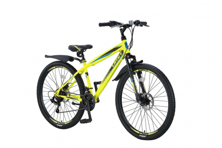 """Bicicleta MTB Umit Faster - 2 D - V-21 , Culoare negru/lime , Roata 26"""", Cadru Otel [1]"""