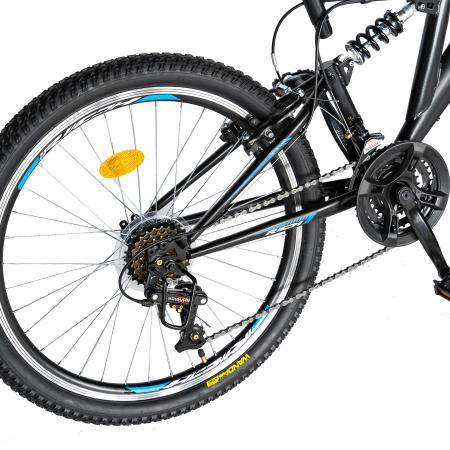 "Bicicleta munte, dubla suspensie, RICH R2649A, roata 26"", frana V-Brake, 18 viteze, negru / albastru [2]"