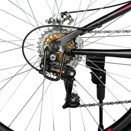 """Bicicleta munte, dubla suspensie, RICH R2750D, roata 27.5"""", frana disc, 18 viteze, negru/rosu [4]"""