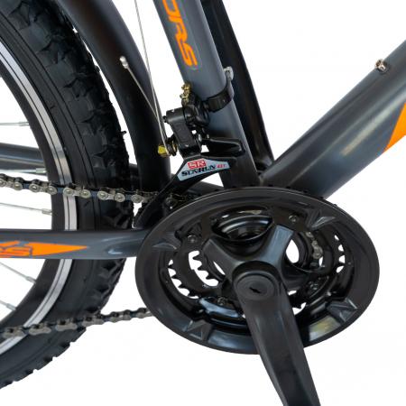 Bicicleta oras Velors V2633B, roata 26 inch, echipare Shimano, 18 viteze, culoare gri/portocaliu [4]