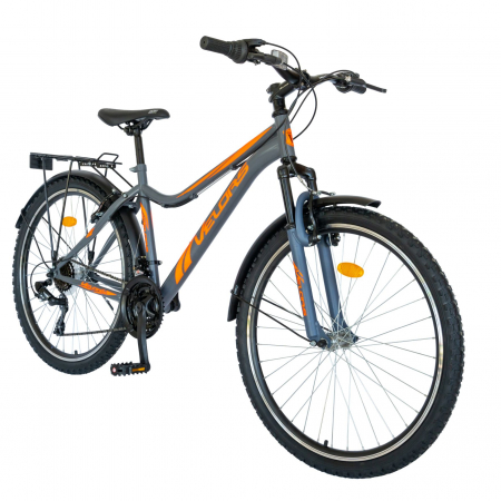 Bicicleta oras Velors V2633B, roata 26 inch, echipare Shimano, 18 viteze, culoare gri/portocaliu [1]