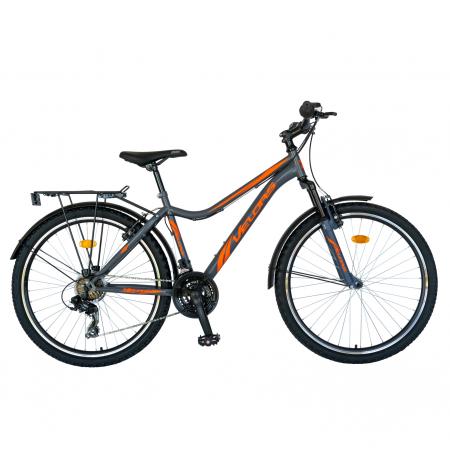 Bicicleta oras Velors V2633B, roata 26 inch, echipare Shimano, 18 viteze, culoare gri/portocaliu [0]