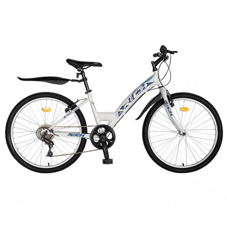 Bicicleta TREKKING 24 inch RICH R2430A, 6 viteze, culoare alb/albastru [0]