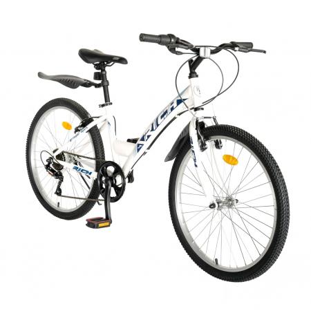 Bicicleta TREKKING 24 inch RICH R2430A, 6 viteze, culoare alb/albastru [1]