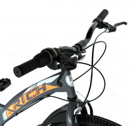 """Bicicleta TREKKING 24"""" RICH R2430A, 6 viteze, culoare gri/portocaliu [12]"""