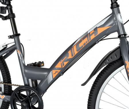 """Bicicleta TREKKING 24"""" RICH R2430A, 6 viteze, culoare gri/portocaliu [7]"""