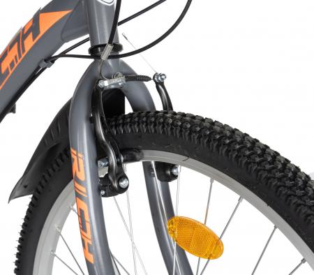 """Bicicleta TREKKING 24"""" RICH R2430A, 6 viteze, culoare gri/portocaliu [11]"""
