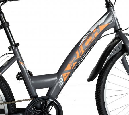 """Bicicleta TREKKING 24"""" RICH R2430A, 6 viteze, culoare gri/portocaliu [8]"""