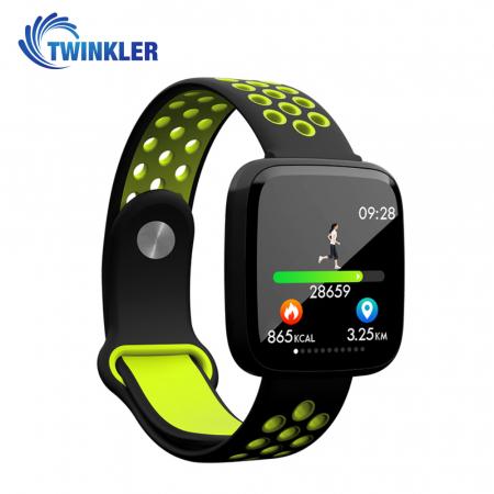 Bratara fitness inteligenta TKY-F15 cu functie de monitorizare ritm cardiac, Tensiune arteriala, Nivel oxigen, Monitorizare somn, Notificari Apel/ SMS, Incarcare magnetica, Negru-Verde [1]