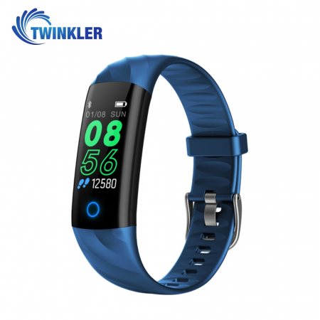 Bratara fitness inteligenta TKY-S5 cu functie de monitorizare ritm cardiac, Tensiune arteriala, Monitorizare somn, Pedometru, Notificari, Iluminare LED, Albastra [0]