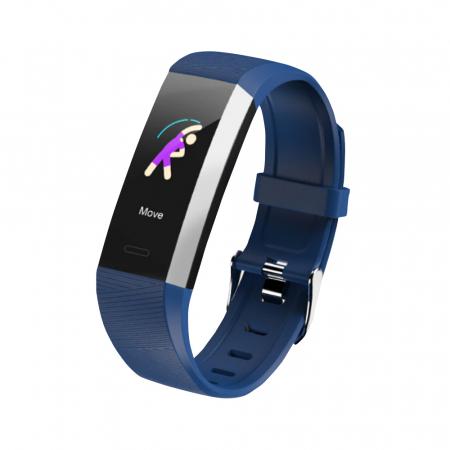 Bratara fitness TKY-S03, Albastru, Monitorizare ritm cardiac, Tensiune arteriala, Nivel Oxigen, Pedometru, Notificari [1]