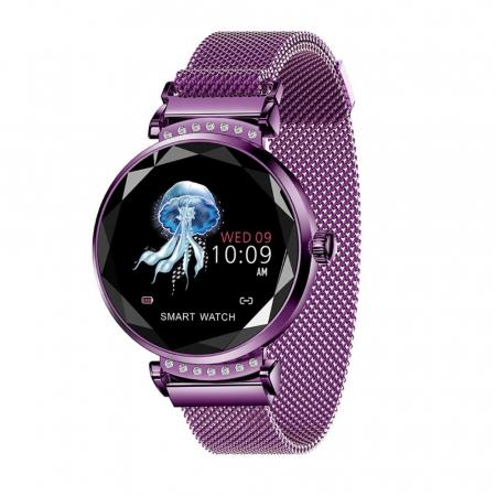 Ceas Smartwatch fitness fashion H2 cu functie de monitorizare ritm cardiac, Notificari, Pedometru, Bluetooth, Metal, Mov [1]