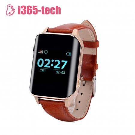 Ceas Smartwatch Pentru Adulti / Varstnici i365-Tech A16 cu Functie Telefon, Senzor puls, Localizare GPS, Pedometru ; Maro [0]