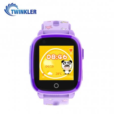 Ceas Smartwatch Pentru Copii Twinkler TKY-DF33 cu Functie Telefon, Apel video, Localizare GPS, Camera, Lanterna, SOS, Android, 4G, IP54, Joc Matematic ; Mov, Cartela SIM Cadou [0]