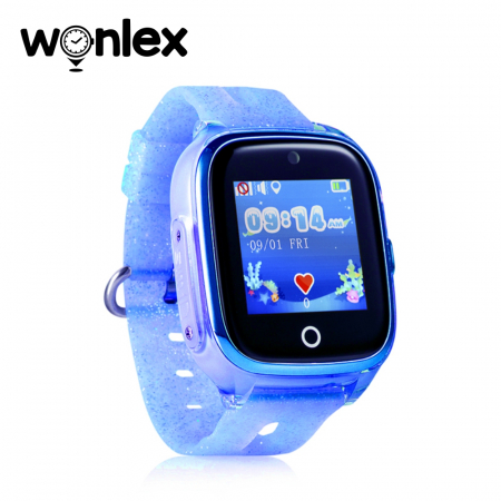 Ceas Smartwatch Pentru Copii Wonlex KT01 cu Functie Telefon, Localizare GPS, Camera, Pedometru, SOS, IP54 ; Albastru, Cartela SIM Cadou [1]