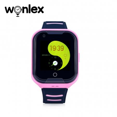 Ceas Smartwatch Pentru Copii Wonlex KT11 cu Functie Telefon, Apel video, Localizare GPS, Camera, Pedometru, Lanterna, SOS, IP54, 4G ; Roz, Cartela SIM Cadou [1]