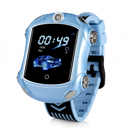 Ceas Smartwatch Pentru Copii, Wonlex KT14, Supercar, Albastru, SIM card, 4G, Rezistent la stropi accidentali IP54, Apel video [0]