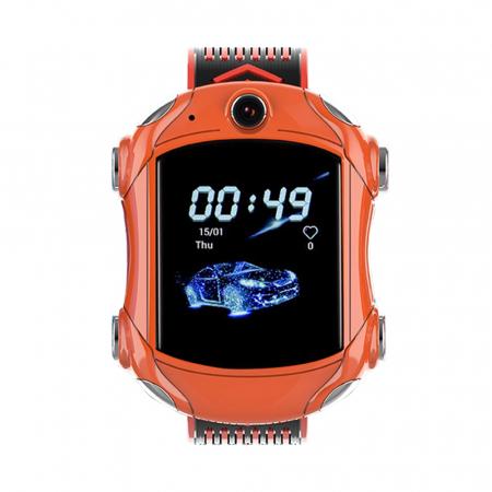 Ceas Smartwatch Pentru Copii, Wonlex KT14, Supercar, Portocaliu, SIM card, 4G, Rezistent la stropi accidentali IP54, Apel video [1]