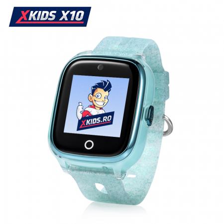 Ceas Smartwatch Pentru Copii Xkids X10 cu Functie Telefon, Localizare GPS, Apel monitorizare, Camera, Pedometru, SOS, IP54, Turcoaz, Cartela SIM Cadou, Meniu romana [0]
