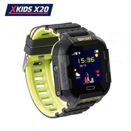Ceas Smartwatch Pentru Copii Xkids X20 cu Functie Telefon, Localizare GPS, Apel monitorizare, Camera, Pedometru, SOS, IP54, Incarcare magnetica, Negru ; Verde Lamaie, Cartela SIM Cadou, Meniu romana [2]