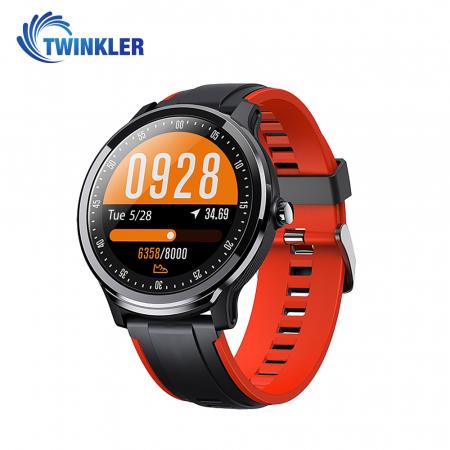 Ceas Smartwatch TKY-QS80 cu functie de monitorizare ritm cardiac, Tensiune arteriala, Nivel oxigen, Pedometru, Distanta parcursa, Calorii arse, Notificari Apel/ SMS, Negru-Portocaliu [0]