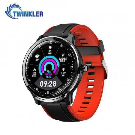 Ceas Smartwatch TKY-QS80 cu functie de monitorizare ritm cardiac, Tensiune arteriala, Nivel oxigen, Pedometru, Distanta parcursa, Calorii arse, Notificari Apel/ SMS, Negru-Portocaliu [1]