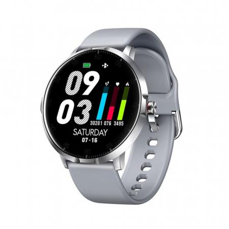 Ceas smartwatch, Twinkler TKY-K16, Gri, Bratara silicon, Monitorizare ritm cardiac, Pedometru, Notificari, 8 moduri sportive [0]