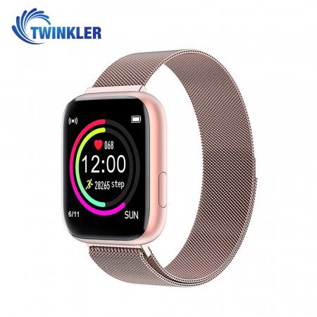 Ceas Smartwatch Twinkler TKY-P4 Metal cu functie de monitorizare ritm cardiac, Tensiune arteriala, Nivel oxigen, Distanta parcursa, Afisare mesaje, Prognoza meteo, Roz [0]