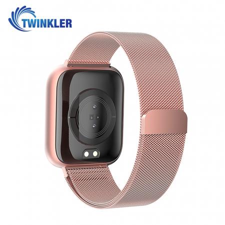 Ceas Smartwatch Twinkler TKY-P4 Metal cu functie de monitorizare ritm cardiac, Tensiune arteriala, Nivel oxigen, Distanta parcursa, Afisare mesaje, Prognoza meteo, Roz [1]
