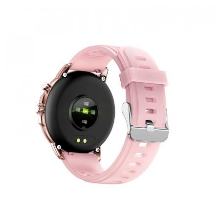 Ceas smartwatch, Twinkler TKY-S02, Roz-Auriu, Functie masurarea ritmului cardiac, Rezistenta la apa IP54, 23 moduri sportive [1]