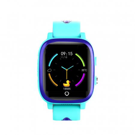 Ceas smartwatch YQT T5S, 4G, Albastru, Masurarea temperaturii, Pedometru, Verificare istoric, Alarma, Lanterna [1]